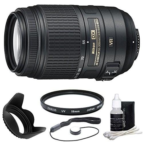 Nikon 55-300mm f/4.5-5.6G ED VR AF-S DX Nikkor Zoom Lens for Nikon Digital SLR Camera's with Filter, Lens Hood, Cleaning Kit and Lens Cap Keeper! Money Saving Bundle!