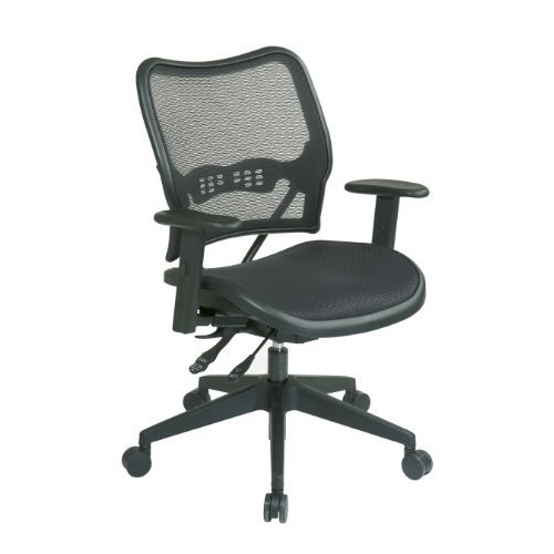 SPACE Seating Deluxe AirGrid Seat and Back with Dual-Function Control, Seat Slider and 2-Way Adjustable Arms and Nylon Base Managers Chair, Black [Managers Chair]