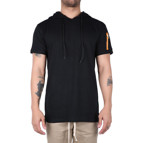 The Coller Short Sleeve Hoodie in Black