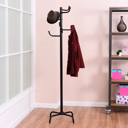 Costway Metal Coat Hat Rack Clothes Holder Hanger Hall Stand Tree-shaped Entryway Black