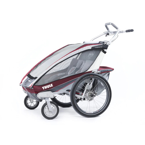Thule Active with Kids Chariot CX 2 Multi-Sport Double Child Carrier with Strolling Kit - Burgundy