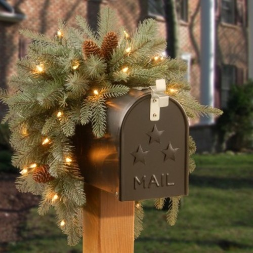 36 inch Frosted Arctic Spruce Mailbox Swag with Battery Operated Warm White LED Lights