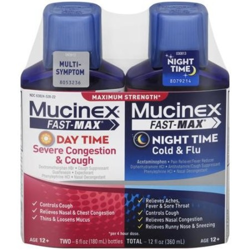 Mucinex Fast-Max Day Time Multi-Symptom & Night Time Cold & Flu Relief Liquid, 12 fluid oz, 2 Bottles