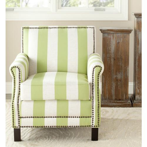 Safavieh Easton Club Chair With Stripes - Brass Nail Heads