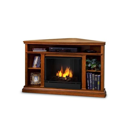 Real Flame 3750-O Churchill Corner Entertainment Ventless Gel Fireplace, Oak