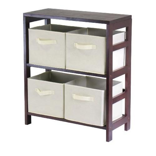 Winsome Wood Capri Wood 2 Section Storage Shelf with 4 Beige Fabric Foldable Baskets [Espresso, beige basket]