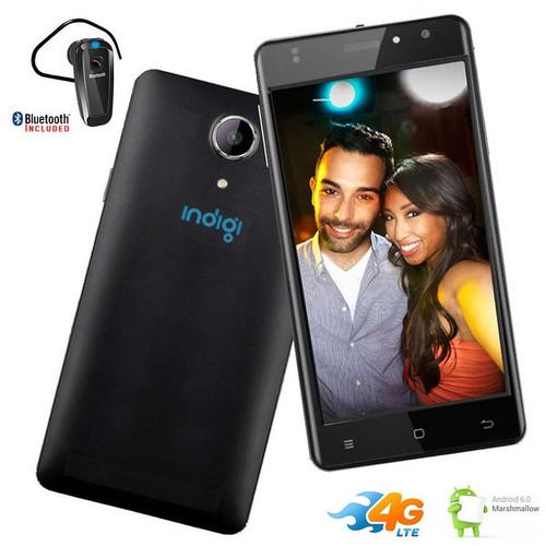 Indigi GSM Unlocked 4G LTE 5.6-inch Android 6 Black SmartPhone [QuadCore @ 1.3GHz + Fingerprint Scanner] + Bluetooth Headset