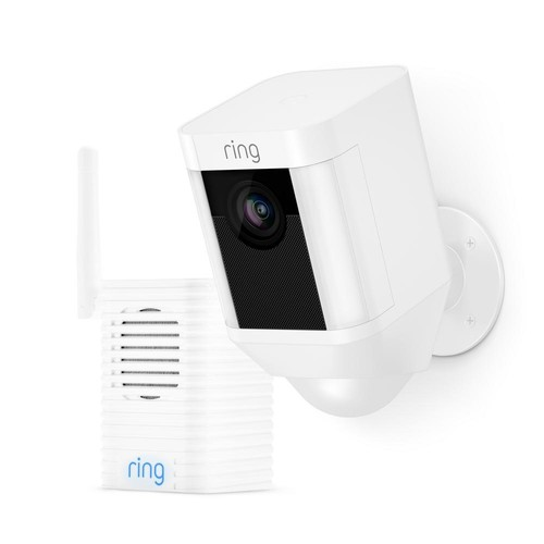 Ring Spotlight Cam Battery Outdoor Security Wireless Standard Surveillance Camera in White with Chime Pro