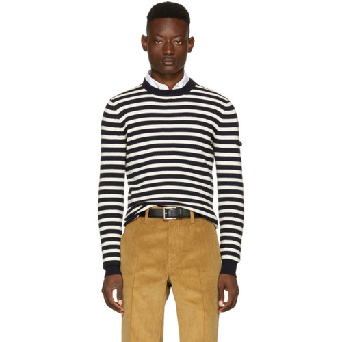 PRADA Navy & Off-White Striped Lambswool Sweater