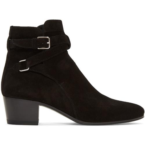 SAINT LAURENT Black Suede Blake Jodhpur Boots
