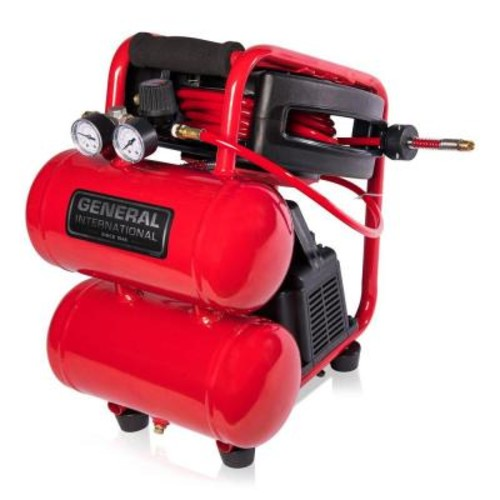 General International 2 Gal. 1/3 HP Portable Electric Twin Stack Air Compressor with 25 ft. Auto Rewind Hose Reel