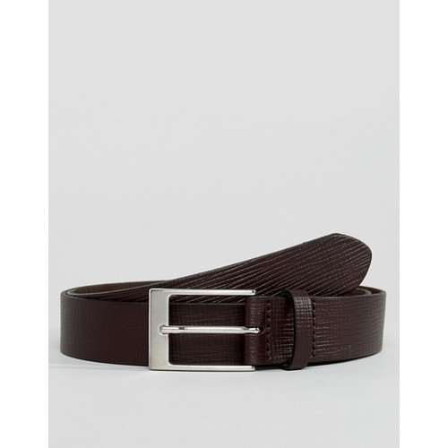ASOS Smart Slim Belt In Brown Leather With Saffiano Emboss