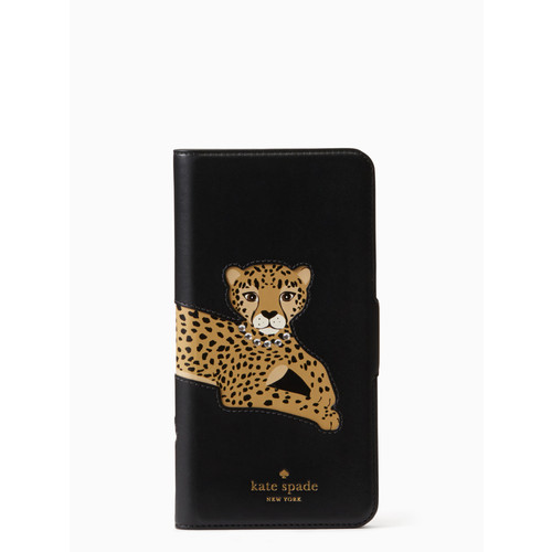 cheetah applique folio iphone 7/8 plus case