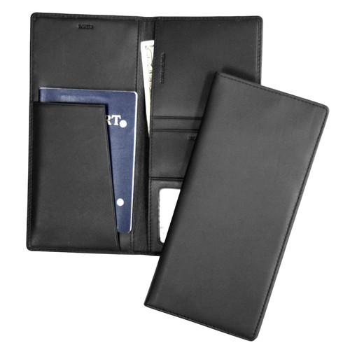 Royce Leather Passport Ticket Holder [Black, One Size]