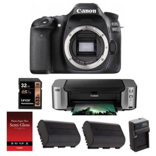 Canon EOS 80D DSLR Body and Printer Kit 1263C004 PB