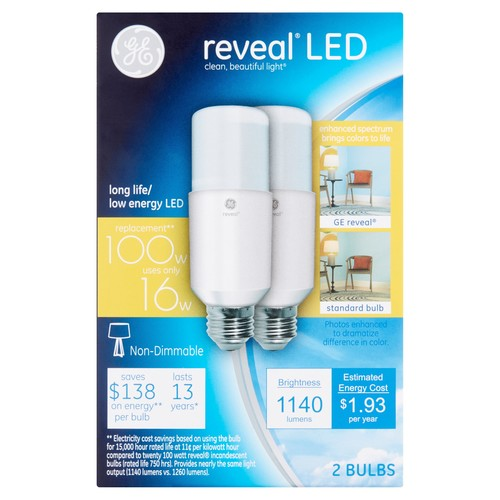 GE Reveal 100W Equivalent (Uses 16W) LED Bright Stik A21 Bulb, 2-Pack