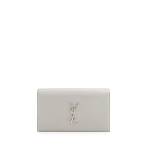 SAINT LAURENT Monogram Leather Small Clutch Bag, Light Gray
