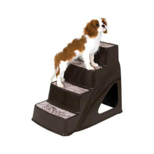 Petmate Portable Indoor Cozy Decorative Pet Step Stairs Ramp II Coffee Grounds