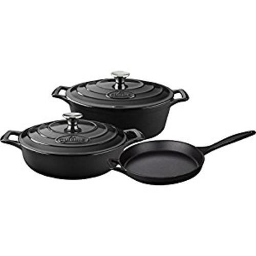 La Cuisine LC 2740 5 Piece Enameled Cast Iron Oval Casserole Cookware Set, Slate Black [Black]
