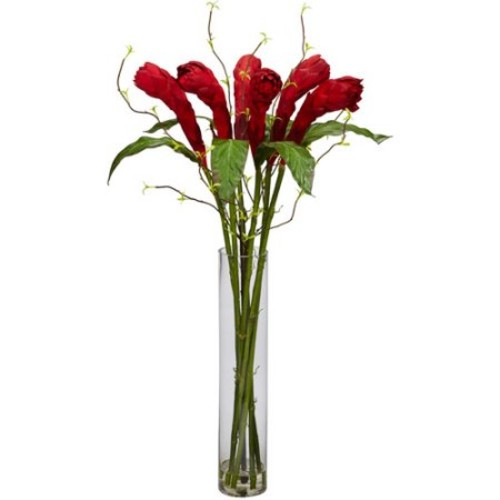 Nearly Natural 36 in. H Red Ginger with Cylinder Vase Silk Flower Arrangement