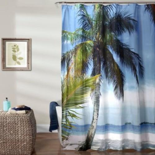 Lush Decor 70-Inch x 72-Inch Beach Palm Tree Shower Curtain in Blue/Green