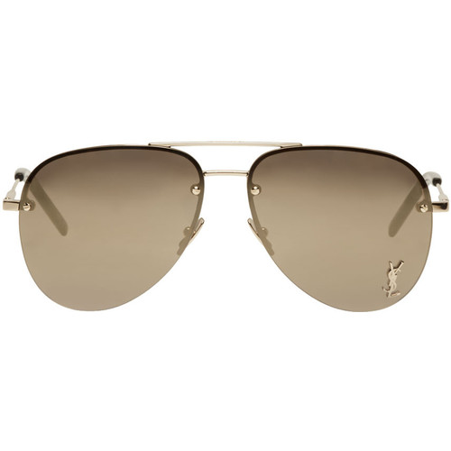 SAINT LAURENT Gold Monogram M11 Aviator Sunglasses