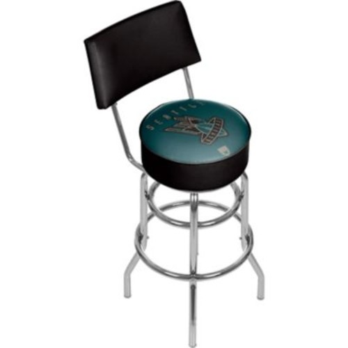 Trademark Global VAF VAF1100-SB Steel Padded Swivel Bar Stool with Back, Seattle Bombers