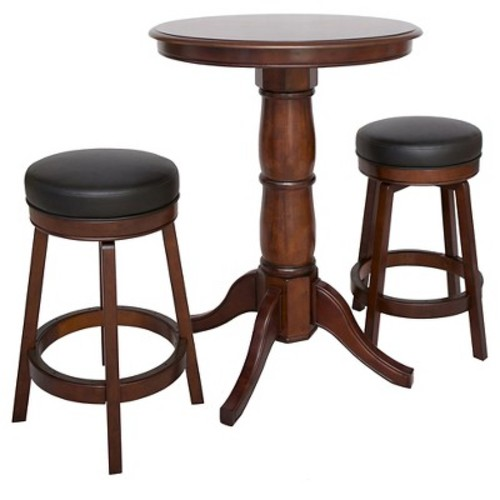 Hathaway Oxford 3 Piece Hardwood Pub Table Set - Walnut Finish