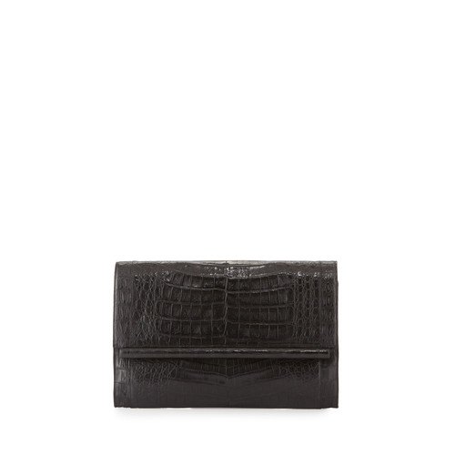 NANCY GONZALEZ Large Crocodile Bar Clutch Bag, Black Matte
