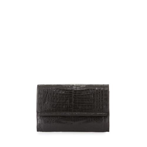 NANCY GONZALEZ Large Crocodile Bar Clutch Bag, Black Matte