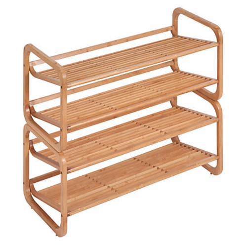 Honey-Can-Do 2-Tier Bamboo Shoe Rack, 14 1/2