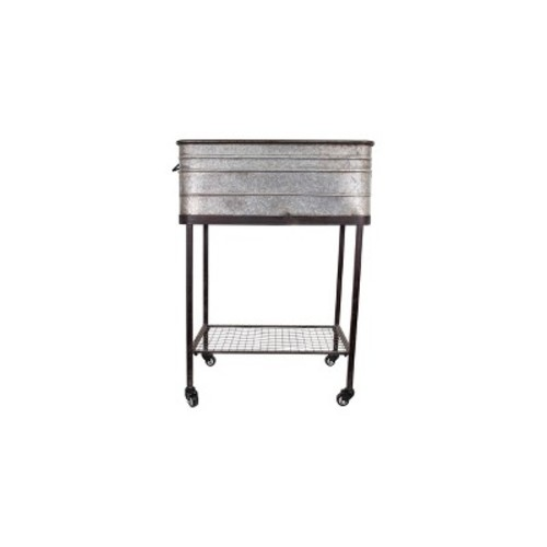 Metal Bucket-Planter On Stand with Casters (34-1-4\