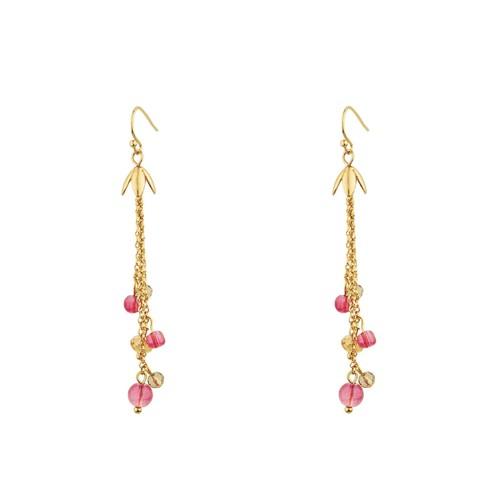 Petals Tassel Earrings in Gold Tone with Pink Multi