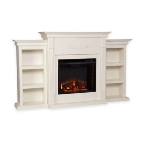 Southern Enterprises Tennyson Electric Fireplace with Bookcase in Ivory