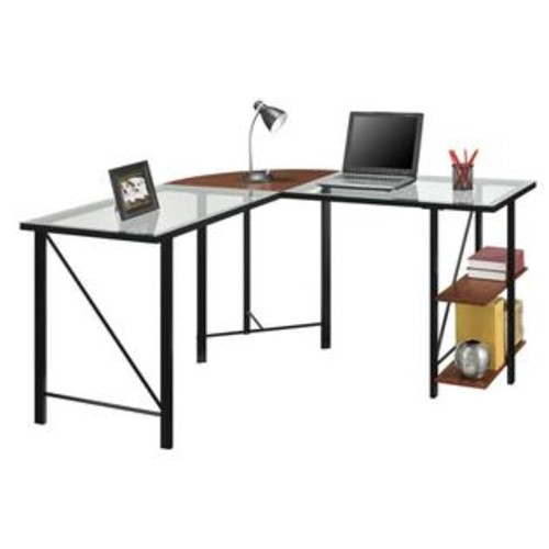 Ameriwood Home Altra Cruz Glass Top L Desk in Cherrry and Black