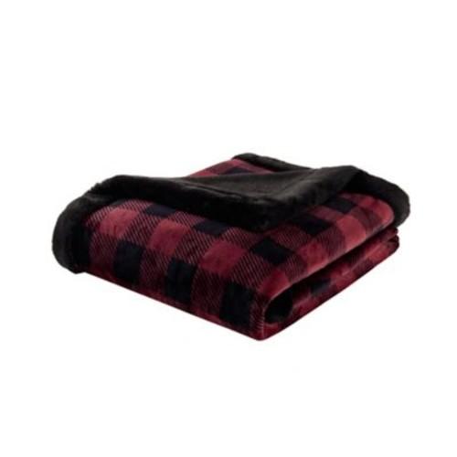 Woolrich Plush Faux Fur Throw; Red/Black