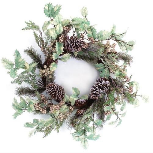 2 Artificial Christmas Wreaths with Holly and Frosted Pine Cones 24
