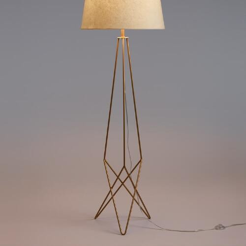 Antique Gold Hairpin Floor Lamp Base
