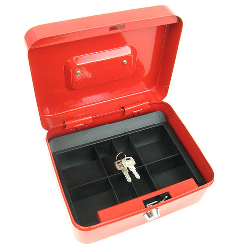 Stalwart 8-inch Key Lock Red Cash Box with Coin Tray