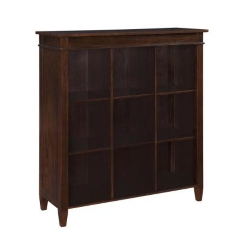 Simpli Home Carlton Dark Tobacco Brown Open Bookcase