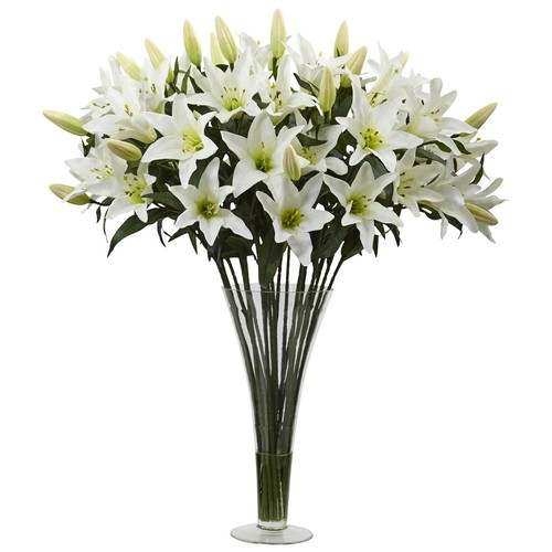 Nearly Natural Lily Arrangement with Flared Vase