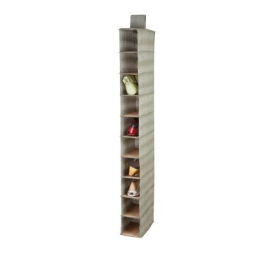 Honey Can Do 10 shelf bamboo shoe organizer, natural bamboo and moss green ( SFT-03043 )