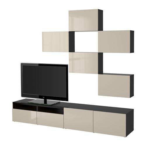 BEST TV storage combination, walnut effect light gray, Lappviken white [drawer : drawer runner, soft-closing]