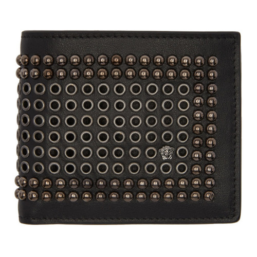 VERSACE Black Studded Wallet