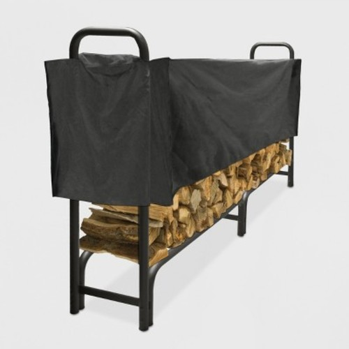 Pleasant Hearth 8' Heavy Duty Log Rack with Half Cover - Black
