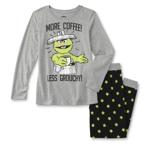 Sesame Street Oscar the Grouch Women's Plus Pajama Shirt & Pants