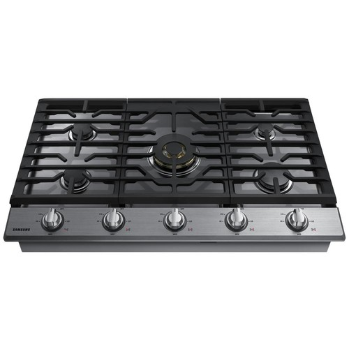 Samsung 36 in. Gas Cooktop in Stainless Steel5 Burners including Dual Ring Brass Power Burner