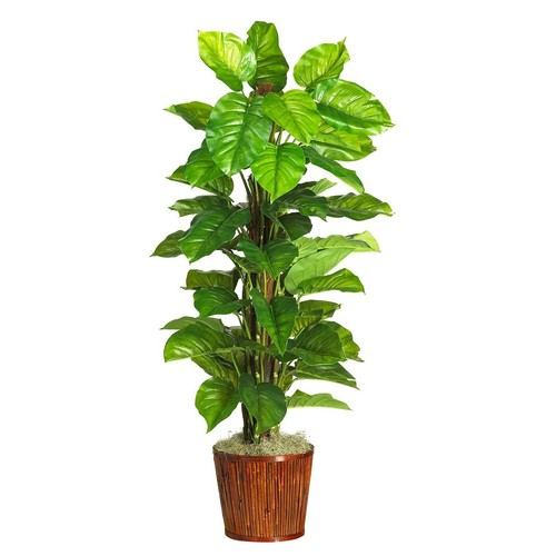 63 Inch Large Leaf Philodendron Silk Plant (Real Touch)