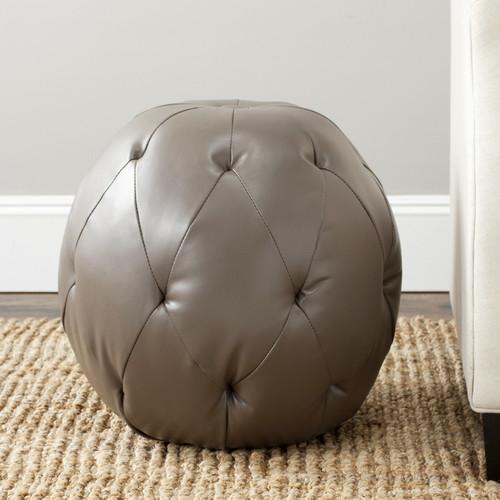 Safavieh Santiago Modern Clay Faux Leather Round Ottoman