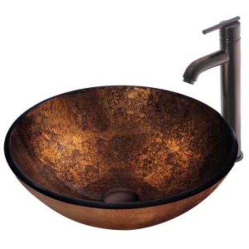 VIGO Vessel Sink in Russet with Faucet Set in Browns